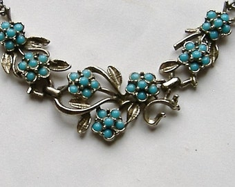 1950s turquoise stone FLOWER design necklace
