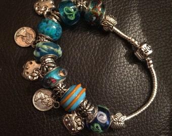 Silver Turquiose charm bracelet