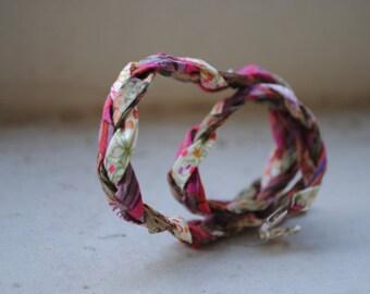 Braided Liberty Cord Bracelet, Two Strands Bracelet, Fabric Bracelet
