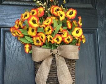 Red and yellow flower door hanger basket - wreath alternative
