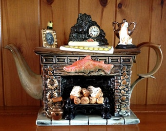 SALE Was 98.95 - Paul Cardew - Angling Times, Woodmanton 'Titan' Fireplace Teapot - Full Sized - Artist Signed 2150/5000 - Made In England