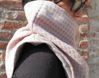 Winter wool neck warmer/Shrug Cape/hood/Winter Gift Idea/pink and grey wool and linen/shrug/Cape Turtleneck/Christmas