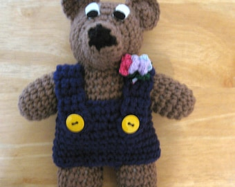 Crocheted Brown Bear With Navy Blue Shorts