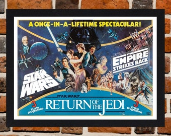 Framed Star Wars Trilogy 3 In 1 Movie / Film Poster A3 Size Mounted In Black Or White Frame