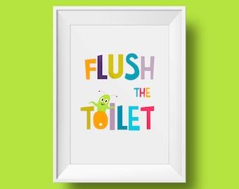 Printable sign - bathroom - Flush the toilet little monster
