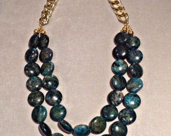 Green Malachite with chain necklace