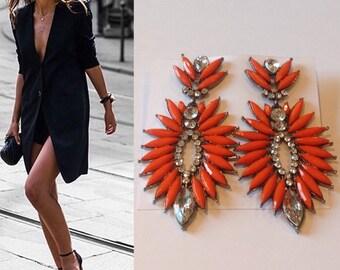 Jewel of Orange, green, Maroon or blue earrings