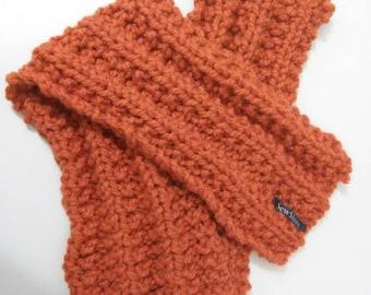 Bright Orange Hand-Knitted Scarf