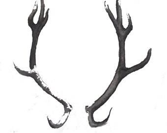 Water Color Art Print - Gray Antlers