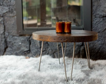 Reclaimed Barn Wood Round Coffee Table w/ Hair Pin Legs
