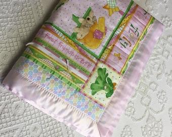 Girl first furry friend blanket quilt