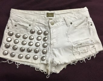 Vintage ripped up studded shorts