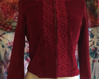 Beautiful Embroidered Velvet Jacket in Cranberry