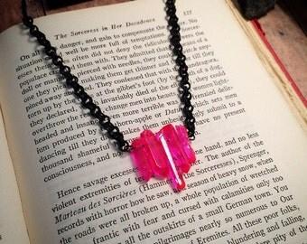 Hot pink Quartz crystal necklace // pink crystal necklace // hot pink necklace // gothic necklace