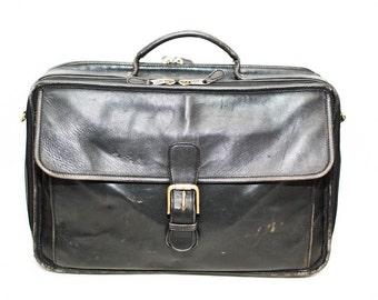 Coach leather laptop bag - Vintage Coach bag - Black leather laptop bag - Distressed Coach bag - Coach computer bag - Messenger bag