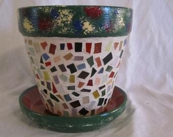 Splashes of Color - Mosaic Flower Pot, Garden Art