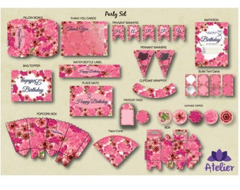 Pink Floral Party Set