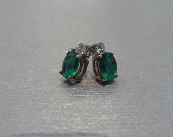 Emerald and diamond earrings