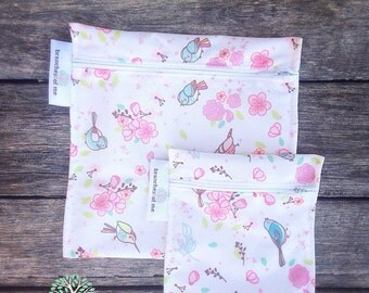 Reusable sandwich bag - snack bag - lunch bag - wet bag - pul - eco friendly - handmade - reuse - turquoise - ocean - Cloth Pads
