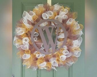 Deco Mesh Fall Door Wreath