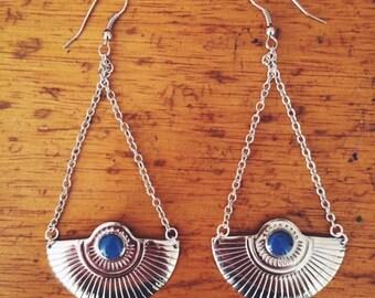 Silver Dramatic Drop Fan Earrings -