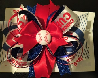 Cubs Large Stacked Hair Bow
