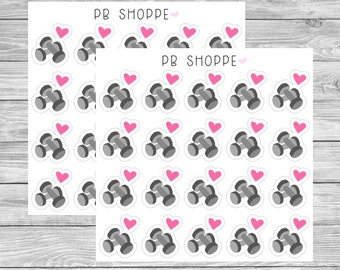 20 I Heart Dumbbells Stickers