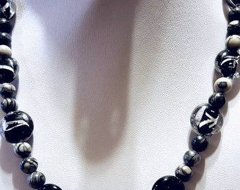 Black Glasswork beaded necklace