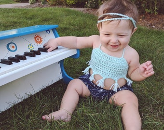 Crochet baby crop top with tassels and headband
