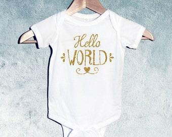 Hello World Baby Girl Bodysuit , Baby Girl T-shirts, Baby Girl Shower Gift, Gift for Newborn Baby Girl, Gift for Toddler, Gift for baby girl