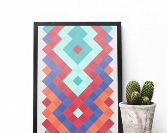 Aztec Print, Mexican Design, Mexican Deco, Boho Deco, Modern Colorful Art, Mint Deco, Blue Artwork, Red Deco, Geometric Abstract Deco