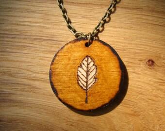 leaf necklace, wooden necklace, wooden pendant, woodburned necklace, woodburned pendant, natural necklace, leaf pendant, rustic necklace