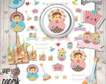 Matryoshka Stickers, Planner Stickers, Russian Doll, Doll Stickers, kawaii Doll, Printable Stickers, Planner Accessories, Erin Condren