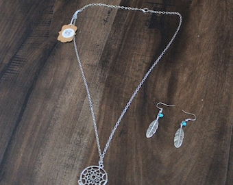 Dream catcher Necklace with Matching Feather Earrings