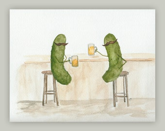 Whimsical Pickles with Moustaches having a Beer in the Pub Watercolor Art Print