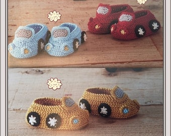 Crocheted Baby Booties Shoes: Hand crochet shoes and booties for babies cars