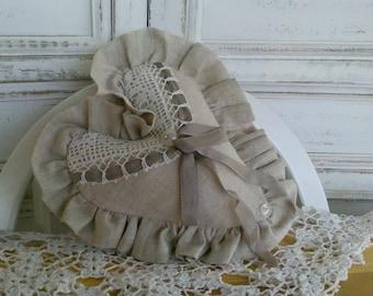 Linen and vintage lace lavender sachet
