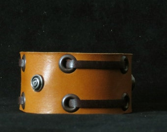 Dot and Dash - Honey Leather Bracelet Leather Cuff Leather Wristband Unisex with Eyelets and Leather Lace