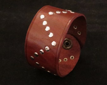 Riveted Brown Leather Bracelet Leather Cuff Leather Wristband Wide for Him