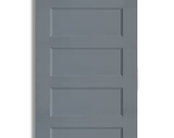 High Gloss Painted Five-Panel Modern Sliding Barn Door in Grey