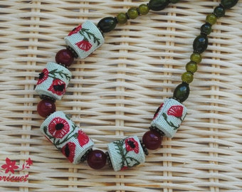 Necklace «Poppy» Handmade necklace Embroidered necklace Poppy Еmbroidered beads Red / Green / Black