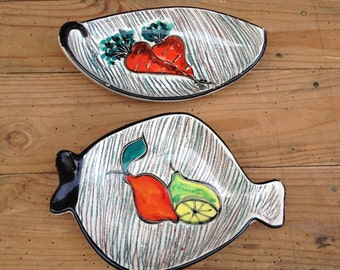 French Vintage Small dishes  earthenware Vallauris decoration fruits and vintage vegetables on 1950