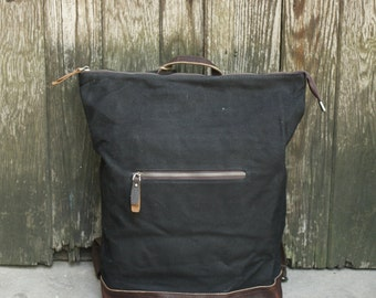 Top-Zipper Waxed Canvas  with Leather Backpack