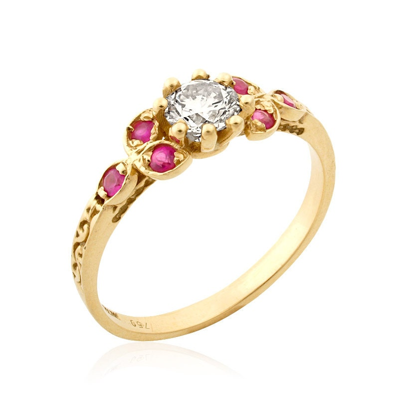 engagement ring ruby ring vintage style