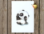 Hello Little Panda - Kids Print - Panda Illustration - Watercolor Decor - Nursery Wall Art