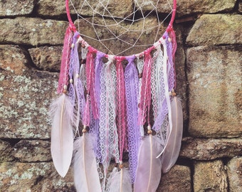Pink Handmade Bohemian Dream Catcher