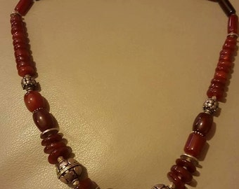 A red carnelian sterling silver necklace..