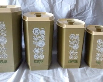 Avacado Green Vintage Canister Set