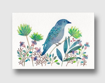 map postal bird flowers, reproduction of my original Watercolour