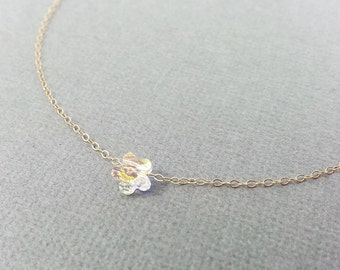 Single Flower Crystal Necklace, Swarovski Crystal AB, Gold, Crystal Jewelry